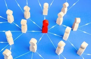 interconnected peg people with red peg representing radiology leader