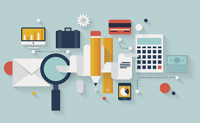 revenue cycle management graphic with calculator, money, and magnifying glass
