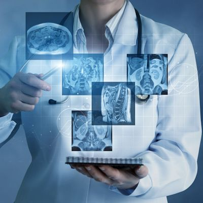 doctor looking at radiology scan, radiology AI