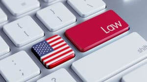red LAW button and US flag button on keyboard, medicare law concept
