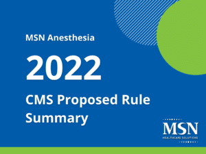 2022 CMS Proposed Rule Summary, Anesthesia