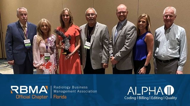 AlphaII Above and Beyond Award being awarded to Barbara Rubel, MSN Healthcare Solutions