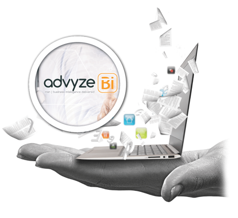 Hand holding a computer with papers flying around Advyze Bi software