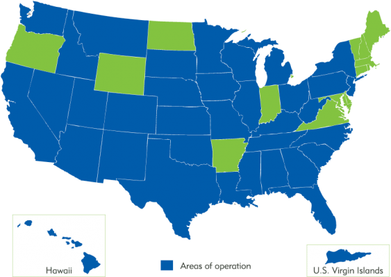 Map of the United States with blue highlighting the areas of MSN Healthcare Solutions areas of Operations